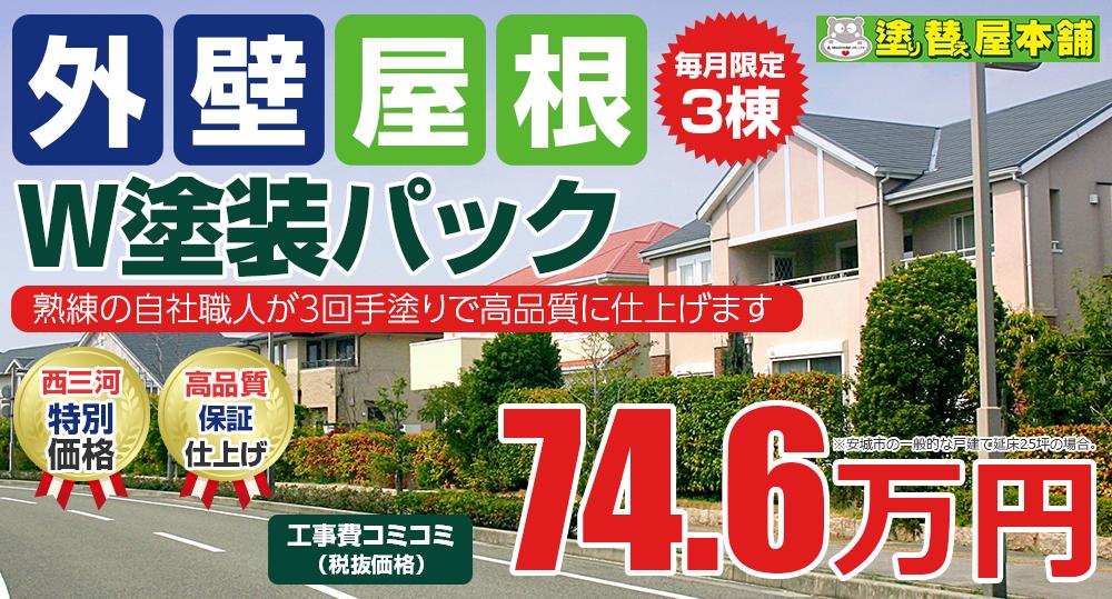 外壁+屋根W塗装パック塗装 74.6万円
