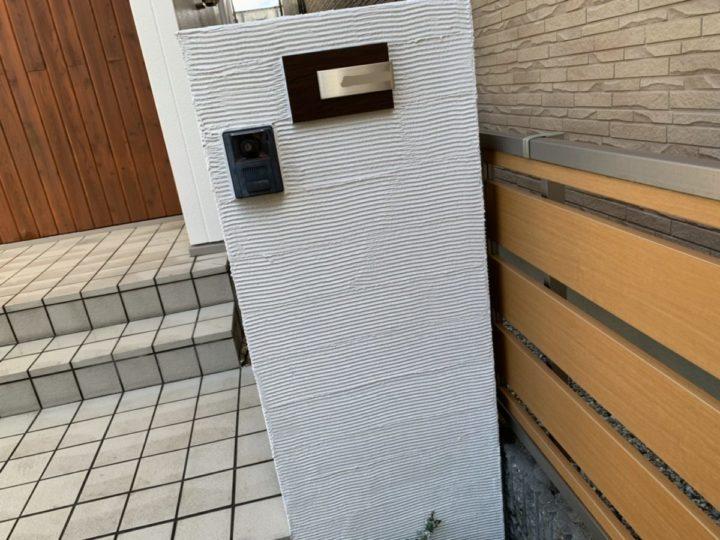 完成 玄関塀