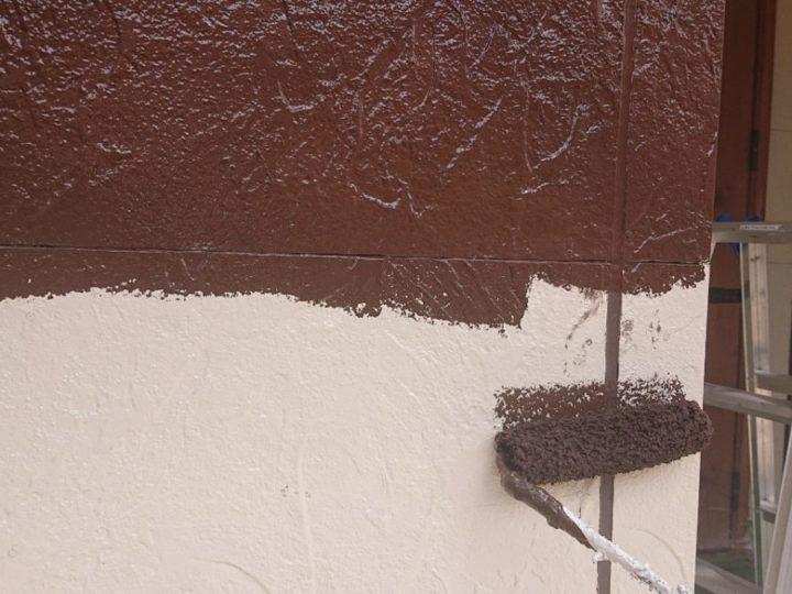 外壁 中塗り(茶仕上げ部分)