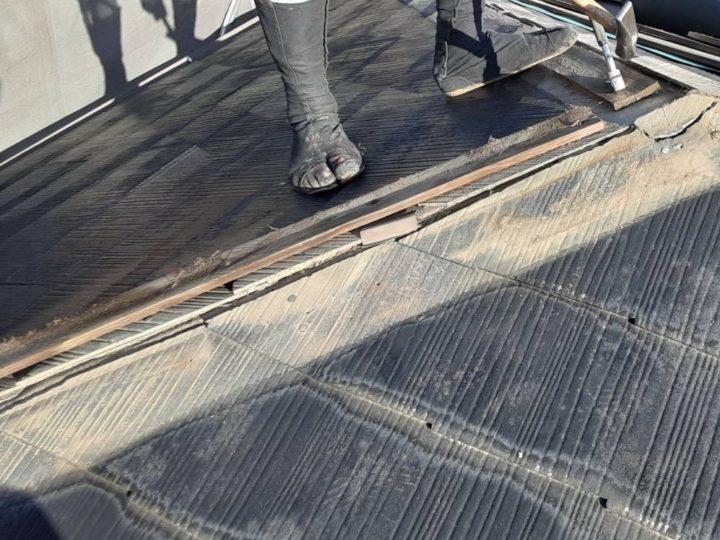 屋根カバー施工作業①