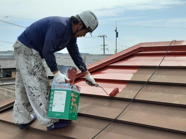 母屋屋根塗装 下塗り