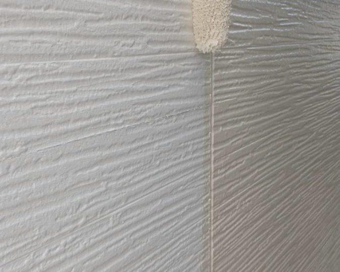 外壁塗装 中塗り施工中