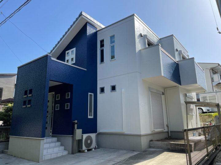 ホワイトとブルーのツートンカラーが鮮やかな外壁!色分け部分もイメチェン! |愛知県安城市 H様邸|愛知県安城市、西尾市の塗り替え屋本舗 710