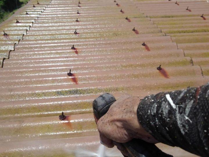 洗浄作業 車庫屋根
