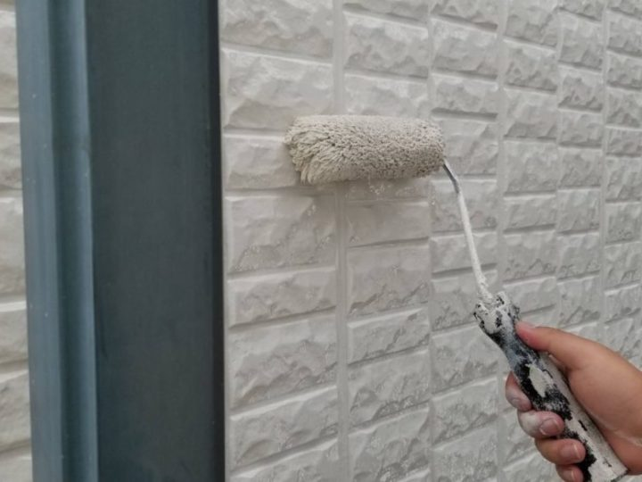 外壁塗装 2階上塗り